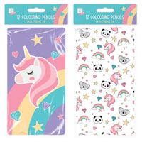 Rainbow Unicorn Coloured Pencils In Tin 12 Pack