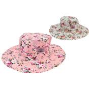 Ladies Wide Brim Floral Cotton Hat Pink/White