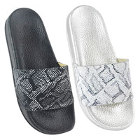Ladies Python Print Pool Slides