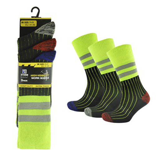 Mens 3 Pack Hi Vis Work Socks