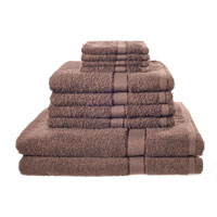 10 Piece Luxury Towel Bale Set With Ribbon Chocolate