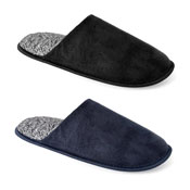 Mens Two Tone Lining Poly Suede Mule Slippers