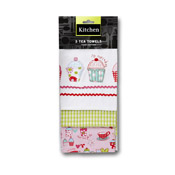 Cupcake Print Tea Towels