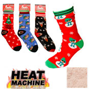 Mens Heat Machine Novelty Christmas Slipper Socks