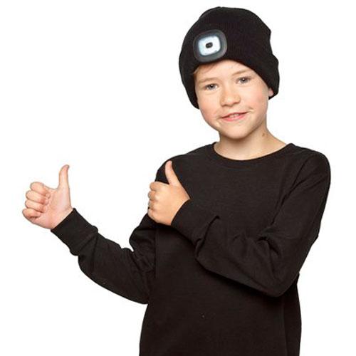 Kids Black LED Beanie Hat