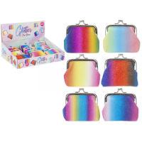 Rainbow Glitter Design Clip Purse