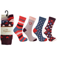 Ladies 3 Pack Exquisite Hearts And Spots Socks