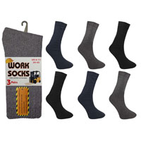 Mens Work Socks Plain Dark Assorted