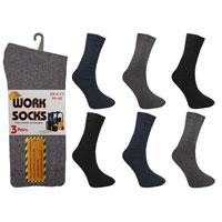 Mens Work Socks Plain Dark Assorted