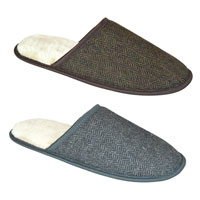 Mens Open Back Tweed Slippers