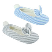 Ladies Striped Bunny Soft Fleece Ballet Slippers