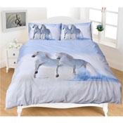 Grey Horses Printed Bed Panel Duvet Set