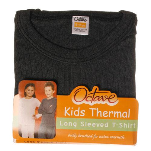Kids Thermal Underwear T Shirt Long Sleeved Grey