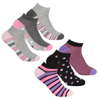 Ladies 3 Pack Bamboo Trainer Socks Spot Design