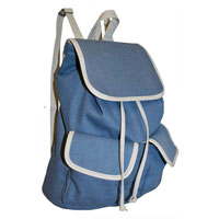 Contrast Edge Denim Look Rucksack Sky Blue White