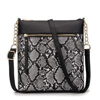 Luxury Faux Snake Skin Cross Body Bag Dark Grey