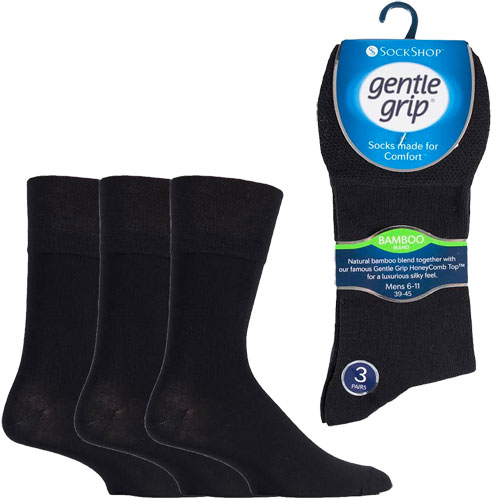 Mens Bamboo HoneyComb Gentle Grip Socks Plain