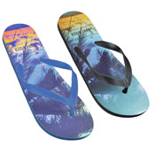 Mens Palm Tree Print Flip Flop Teal/Navy