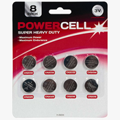 Powercell Super Heavy Duty Lithium 3V Button Cell 8 Pack
