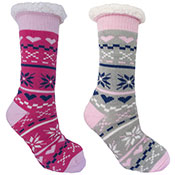 Ladies Fairisle Slipper Socks Pattern