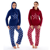 Ladies Fleece Pyjama Hooded Twosie Star Red/Blue