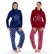 Ladies Fleece Pyjama Hooded Twosie Star Red/Blue