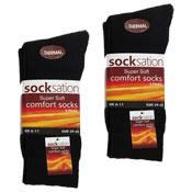 Socksation Mens Thermal Comfort Socks 3 Pack Black