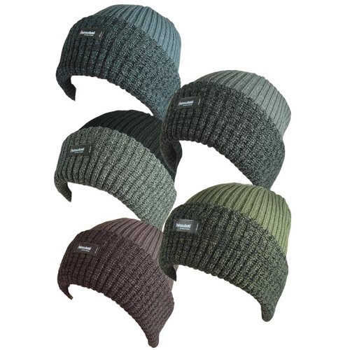 Mens Thermal Rib Knit Hat with Lining Carton Prices