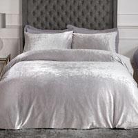 Luxury Crushed Velvet Duvet Set Silver