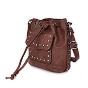 Danni Stud Pocket Bucket Bag Red Brown