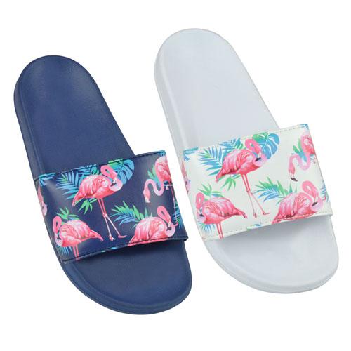 Ladies Flamingo Print Pool Slides White/Navy