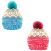 Ladies Dual Pattern Faux Fur Bobble Hat