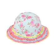 Girls Bush Hats with Floral Print