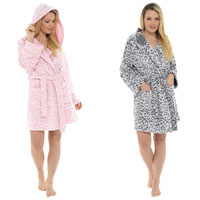 Ladies Leopard Embossed Hooded Fleece Gown