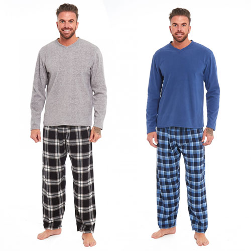 Mens Checked Style Pyjama Set Blue/Grey