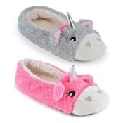 Ladies Soft Fleece Ballet Slippers Unicorn Grey/Pink