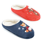 Ladies Soft Fleece Mules Reindeer/Fox