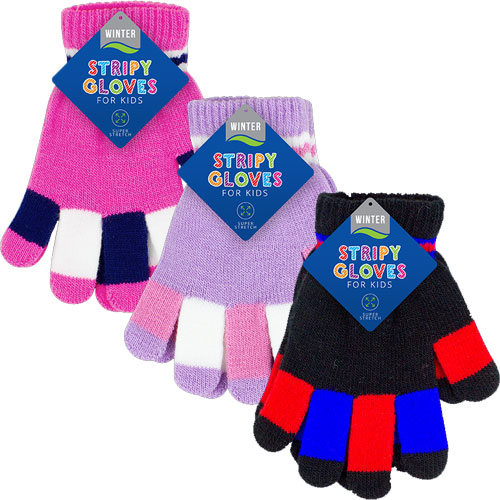 Childrens Striped Magic Gloves