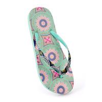 Ladies Moroccan Print Flip Flops Aqua