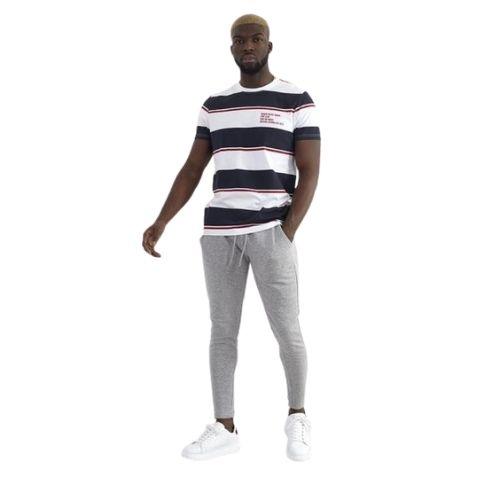 Mens Skinny Fit Zip Cuff Joggers Grey Marl