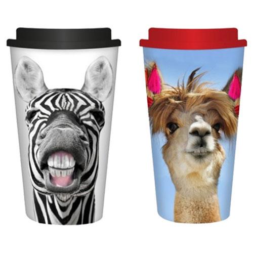 Zebra & Llama Design Reusable Travel Mug