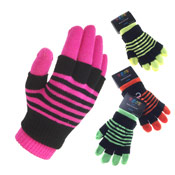 2 in 1 Neon Magic gloves with stripe