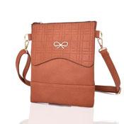 Ladies Atara Face Bow Crossbody Bag Red Brown