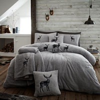 Stag Embroidered Soft Teddy Feel Duvet Set Silver