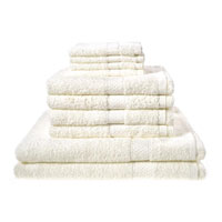 10 Piece Luxury Towel Bale Set With Ribbon Cream