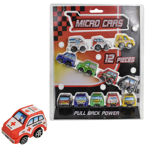 12 Piece Pull Back Micro Cars