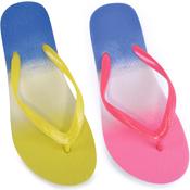 Ladies Neon Ombre Print Flip Flops