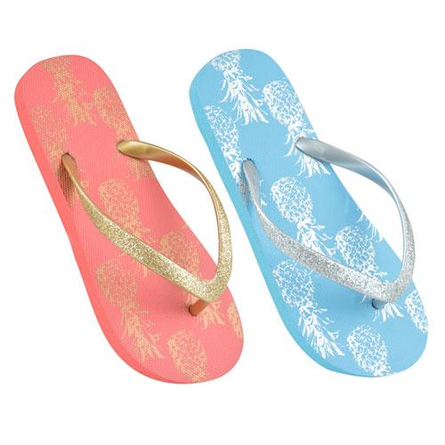 Girls Pineapple Design Flip Flops Blue/Coral