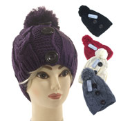 Ladies Knitted Hats with Bobble & Buttons