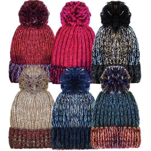 Unisex Melange Multi Colour Bobble Hat With Pom Pom
